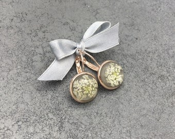 White Queen Anne's Lace against soft doe Grey Cabachon in Rose Gold French Lever Bezel Drop Earrings, Resin Jewelry