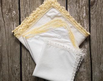 3 white vintage handkerchiefs, crochet lace hankies, embroidery wedding hankie, flowergirl ladies hankies, antique lace edged handkerchief