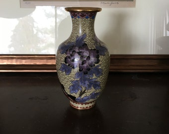 Asian Cloisonné Gilt Brass Floral Vase