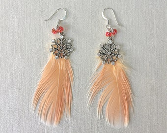 Parrot Feather Snowflake Earrings, Cockatoo 3
