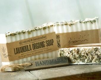 Lavandula ORGANIC SOAP~Lavender Oatmeal Organic Bar Soap~Vegan Soap~Natural Soap~Handmade Soap~Organic Skin Care~Rustic soap~soap