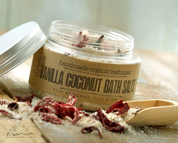 Vanilla Coconut BATH SALTS • with Rhassoul clay and Hibiscus for a spa relaxation bath soak ritual.