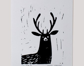 Stag Handprinted Linocut
