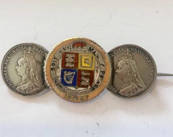 Collectors brooch  Victorian golden jubilee enamelled coin and other coins made into brooch