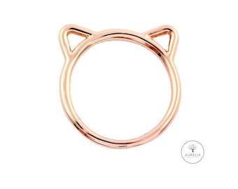 Rosé gold ring 'Cat'