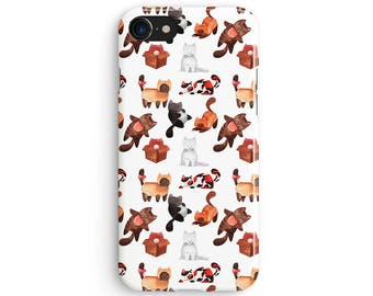 Cats in boxes pattern - iPhone 7 case, Samsung Galaxy S7 case, iPhone 6, iPhone 7 plus, iPhone SE, iPhone 5S, 1C067C