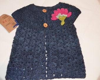 2 - 3 Years Old Girls' Dark Blue Cardigan