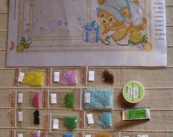 """Bead embroidery kit """"children metrics"""",""""For girls"""",Set per il ricamo con perline """"metriche bambini"""",""""per le ragazze"""",fai da te,DIY"""