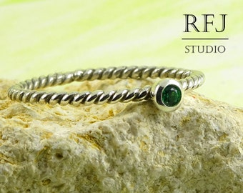 Twisted Lab Emerald Sterling Ring, Green Cubic Zirconia 2 mm Silver Rope Ring Green Emerald Braided 925 Silver Ring, May Birthstone Ring