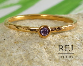 February Birthstone Rose Gold Ring Hammered Lab Amethyst, 14K Rose Gold Plated Ring Purple 2mm CZ Gold Ring Birthstone Jewelry Rose Gold