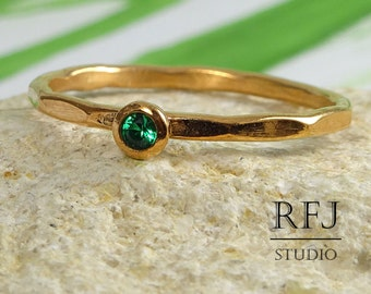 14K Gold Faceted Lab Emerald Ring, May Jewelry Gold Ring 14K Rose Gold  2mm Green CZ Stacking Ring May Birthstone Emerald Rose Gold Ring