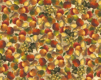 Fruit Fabric: Fruits Tossed- Apples, Pear, Grapes Premium by David Textiles 100% cotton Fabric (DA42)