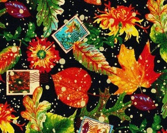 "New Autumn Leaves Fabric: Fabri-Quilt Fall Retreat Changing Season Metallic 100% cotton fabric by the yard 36""x43"" (FQ9)"