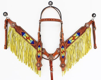 Beaded Handmade Yellow Green Fringe Bling Leather Hand Painted Headstall Western Horse Trail Bridle Breast Collar