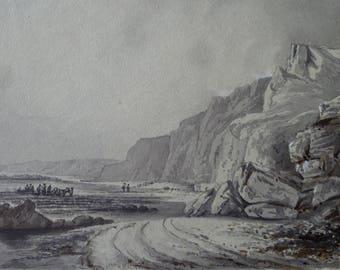 Rocky Coast Scene Scarborough Yorkshire Watercolour en Grisaille Antique