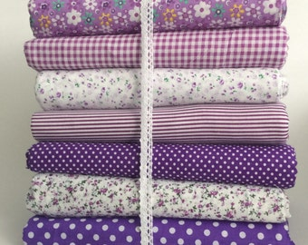 7 Purple Mixed 100% Cotton Fabric Fat Quarter Bundles (Check, Floral, Polka Dot, Stripe) Craft Bunting Patchwork Sewing