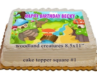Woodland Creatures Personalized Edible Birthday Cake Toppers 8.5x11 inch