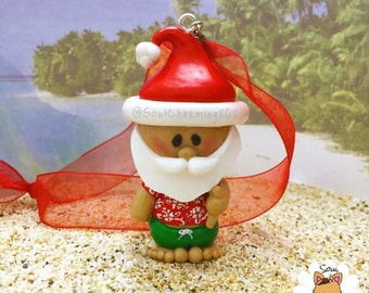 Hawaiian Santa Ornament or Charm