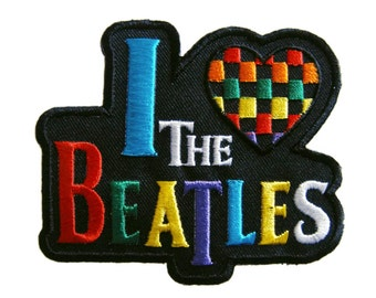 I Love the Beatles Embroidered Applique Iron on Patch 9 cm. x 7.5 cm.