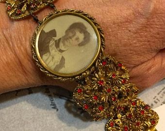 Antoinette, vintage assemblage bracelet, antique photo, altered, red rhinestones