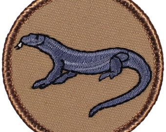 Komodo Dragon Patch (214) 2 Inch Diameter Embroidered Patch