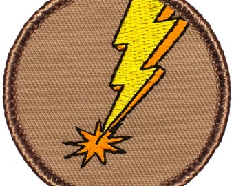 Lightning Bolt Patch (386) 2 Inch Diameter Embroidered Patch