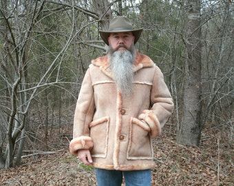 Genuine Shearling Sheepskin Coat Marlboro Man Mountain Man Ranch Coat, Gift for Him, Gift for Dad, Father's Day Gift