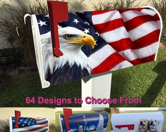 Flag with Eagle Magnetic Mailbox Cover