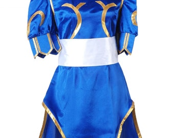 Street Fighter Chun Li ChunLi Blue Cosplay Dress Chunli Cosplay Costumes