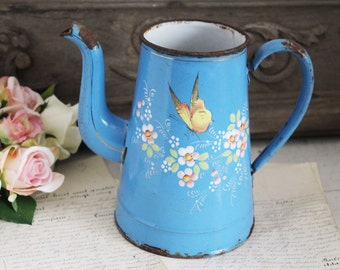 Vintage French Blue Floral Enamel Coffee Pot