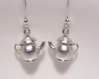 Cute silver plated teapot earrings