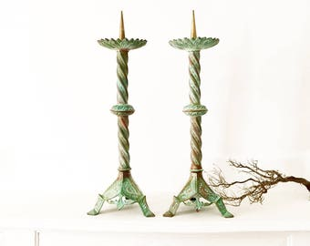 Antique French Altar Candlesticks, a Gorgeous Pair of Two Bronze Church Candleholders, 19th Century