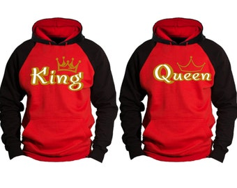 Gold King Queen Couple Matching Premium 10 oz 80 cotton Hoodie - Price for 1 hoody-