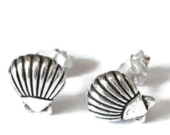 Sterling Silver Shell Stud Earrings/Highly polished/Gifts/wedding/bridesmaid