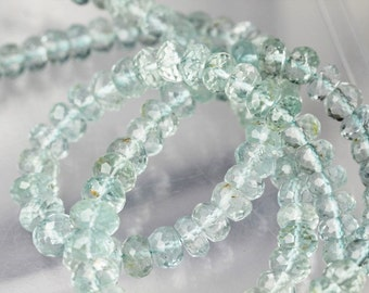 10 inch long strand faceted BLUE TOPAZ rondelle beads 6 -- 8.5 mm approx
