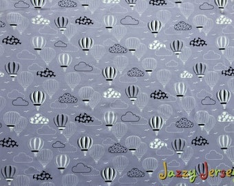 Lilac hot air balloons french terry knit fabric