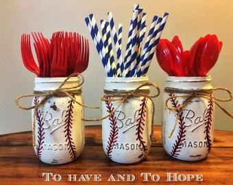 Painted Mason Jar Home Decor. BASEBALL. SOFTBALL. Chalk Paint. Vintage. Rustic Vase. Distressed. Wedding Centerpiece. Shower Gift.