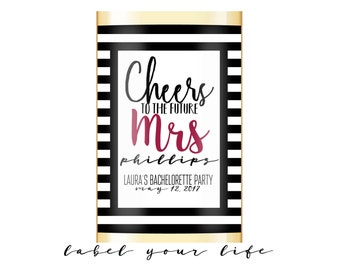 Bachelorette wine label, Bachelorette champagne label, Cheers to Mrs, Mini Champagne Labels, Mini Wine labels, Champagne bachelorette party