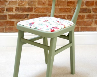Unique Hand Painted Vintage Chair Upholstered in Stunning Bird Print