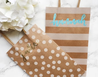 Personalized Embossed Kraft Gift Bags