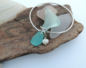 Bright Aqua, Green and Cobalt Blue Scottish Sea Glass Bangle Bracelets with Frershwater Pearls, Authentic Sea Glass