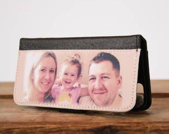 Personalised Phone case, Leather Flip Style
