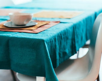 Linen Tablecloth U2013 French Country Linen U2013 Rustic Table U2013 Shabby Chic U2013 Blue  Table Linen