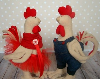 Cockerel and a hen-Year of the Rooster-Christmas Gift-Christmas Present-Handmade doll-Textile Doll-Fabric Doll-Rag Doll-Handmade toy-tilda