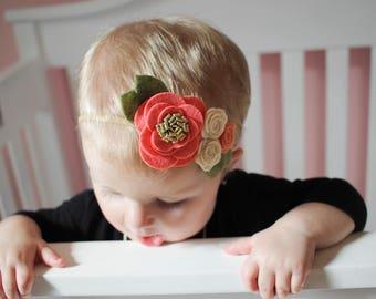 Coral and Peach Flower Headband. Flower bouquet, felt flowers, flower headband, girl headband, baby headband, toddler headband, peach band