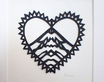 "Limited edition ""love mountains"" papercut artwork"