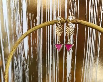 Hot pink arrow earrings