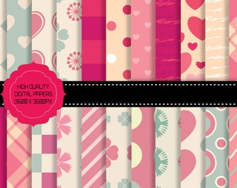 Buy 3 get one free. Paper of Love, 22 Digital Papers, Large Pack, High Resolution, Instant Download.