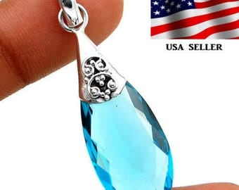"12CT Flawless Blue Topaz ~ .925 Solid Genuine Sterling Silver Pendant 1 7/8"" Long. Comes with choice of chain."