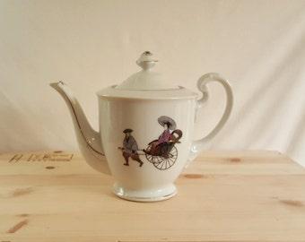 Hakusan Japan Porcelain Teapot | Vintage Rickshaw Pattern #9501 | 1970's Japan